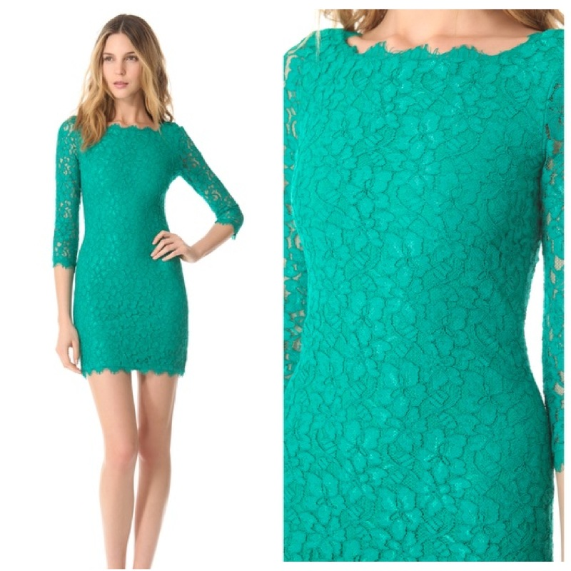 Dvf lace dress green