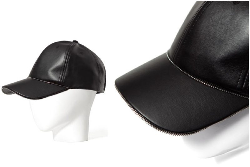 fb6faa6185d Zara    Leather Baseball Cap w Metal Details